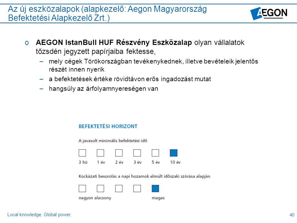 Az új eszközalapok (alapkezelő: Aegon Magyarország Befektetési Alapkezelő Zrt.)