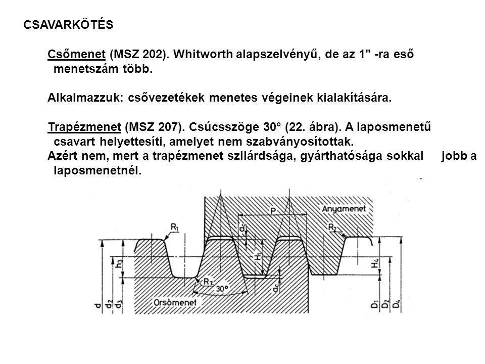 CSAVARKÖTÉS Csőmenet (MSZ 202). Whitworth alapszelvényű, de az 1 -ra eső menetszám több. Alkalmazzuk: csővezetékek menetes végeinek kialakítására.