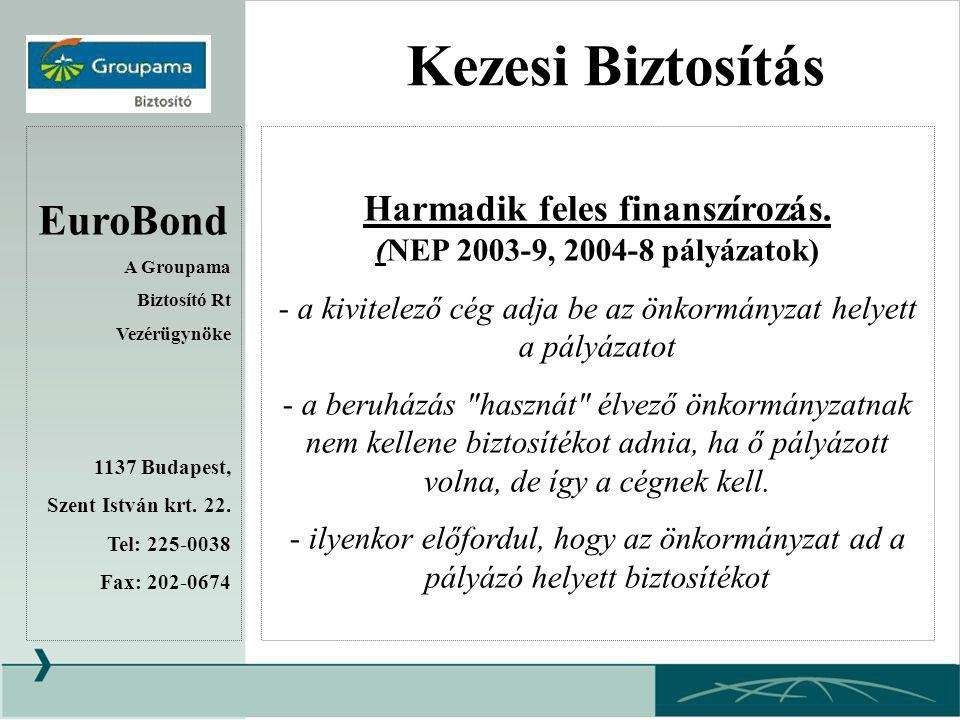 Harmadik feles finanszírozás. (NEP 2003-9, 2004-8 pályázatok)