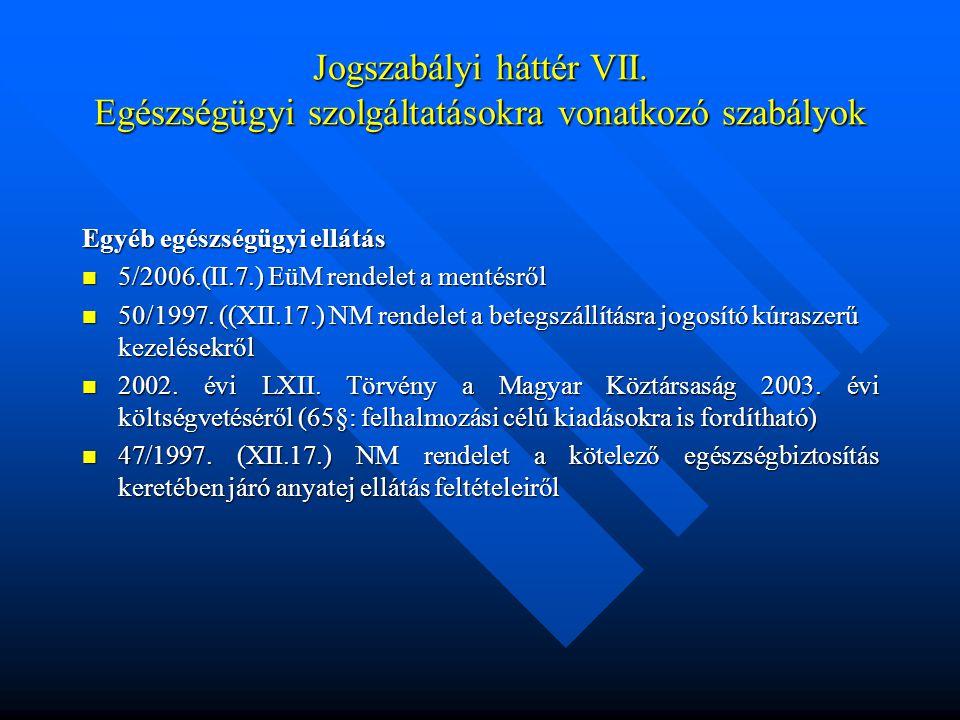 Jogszabályi háttér VII