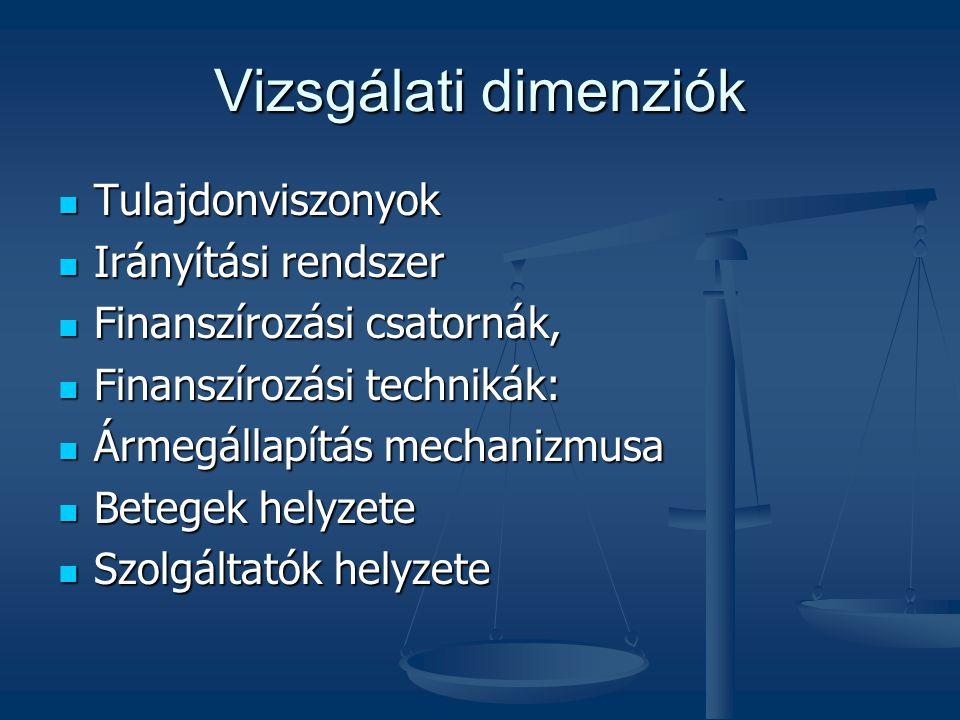 Vizsgálati dimenziók Tulajdonviszonyok Irányítási rendszer