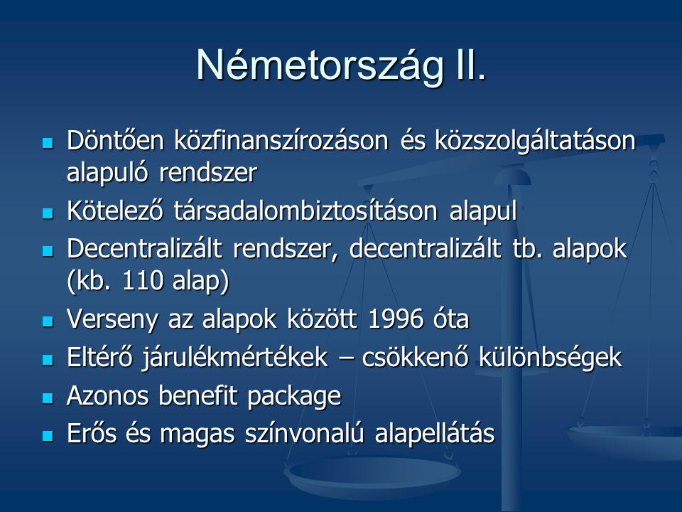 Németország II. Döntően közfinanszírozáson és közszolgáltatáson alapuló rendszer. Kötelező társadalombiztosításon alapul.
