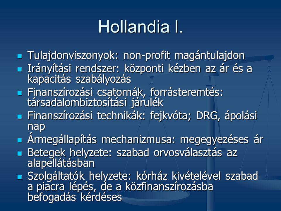 Hollandia I. Tulajdonviszonyok: non-profit magántulajdon