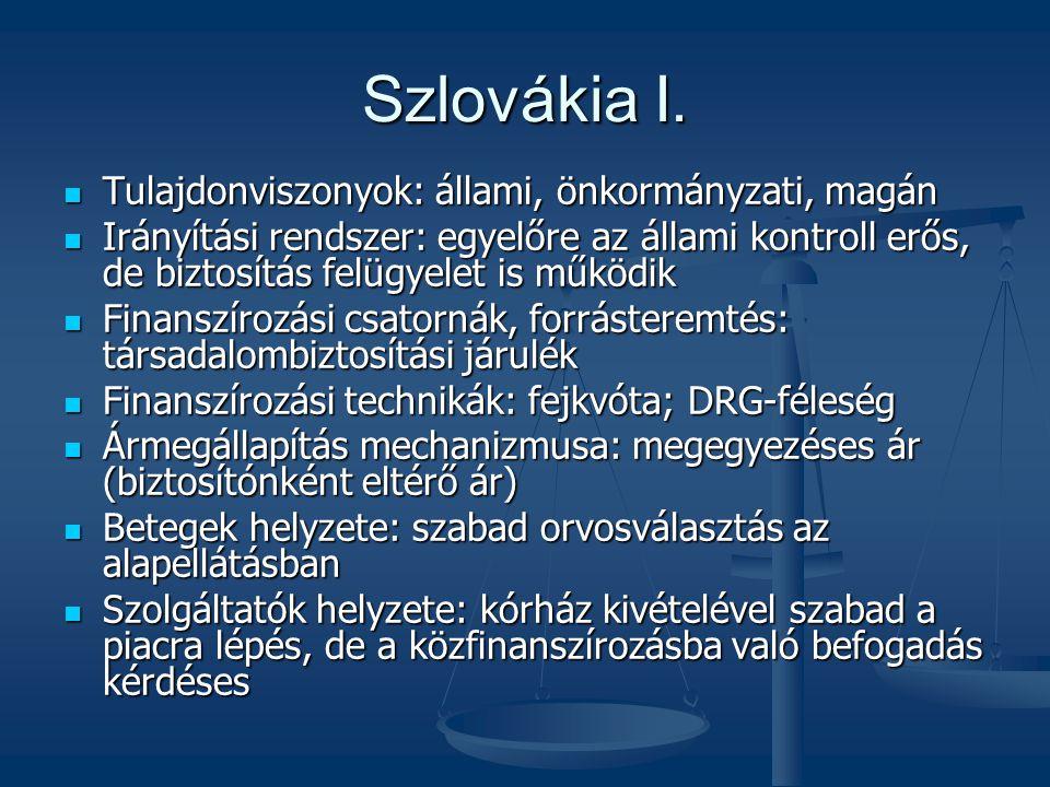 Szlovákia I. Tulajdonviszonyok: állami, önkormányzati, magán