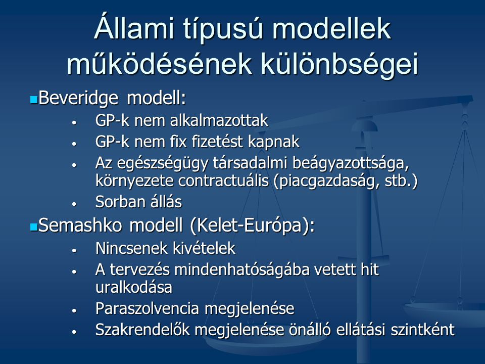Állami típusú modellek működésének különbségei