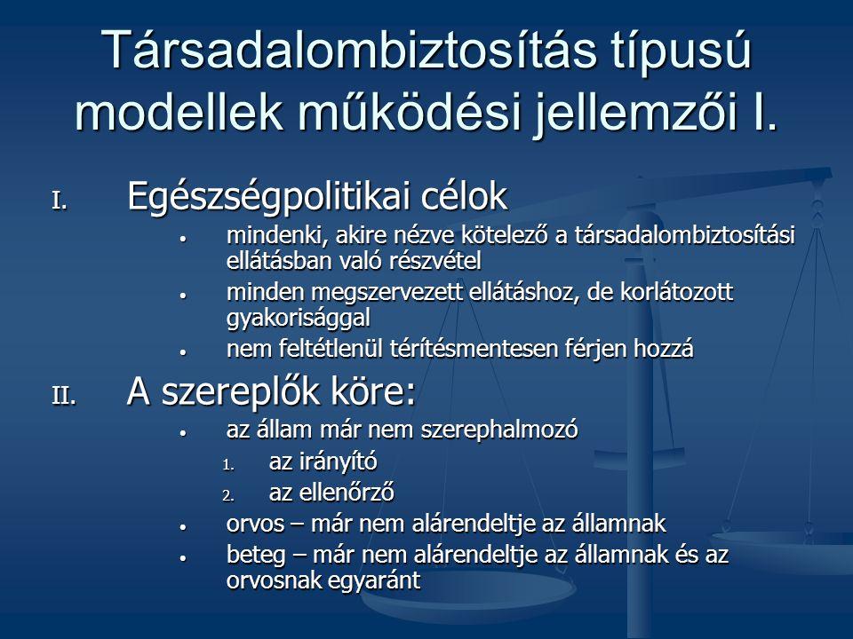 Társadalombiztosítás típusú modellek működési jellemzői I.