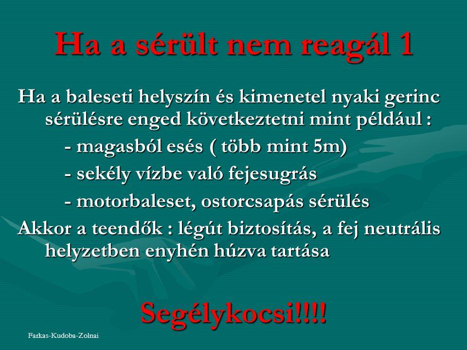 Ha a sérült nem reagál 1 Segélykocsi!!!!