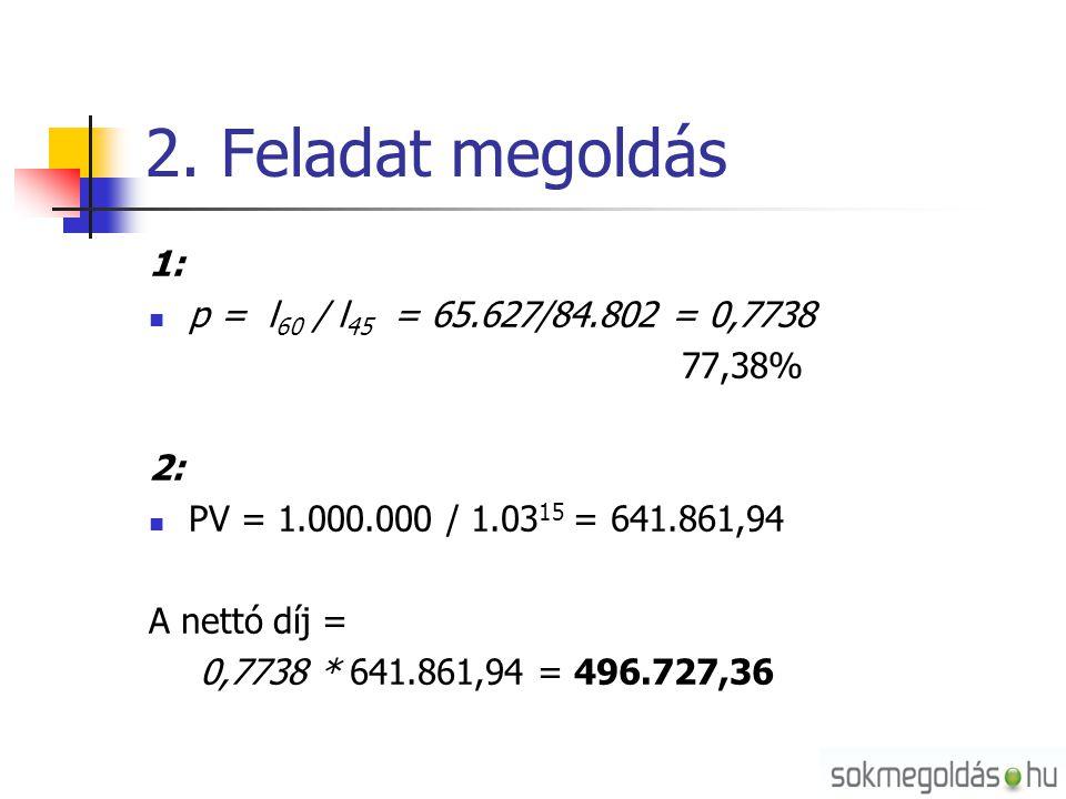 2. Feladat megoldás 1: p = l60 / l45 = 65.627/84.802 = 0,7738 77,38%