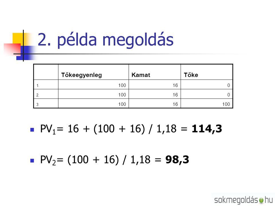 2. példa megoldás PV1= 16 + (100 + 16) / 1,18 = 114,3