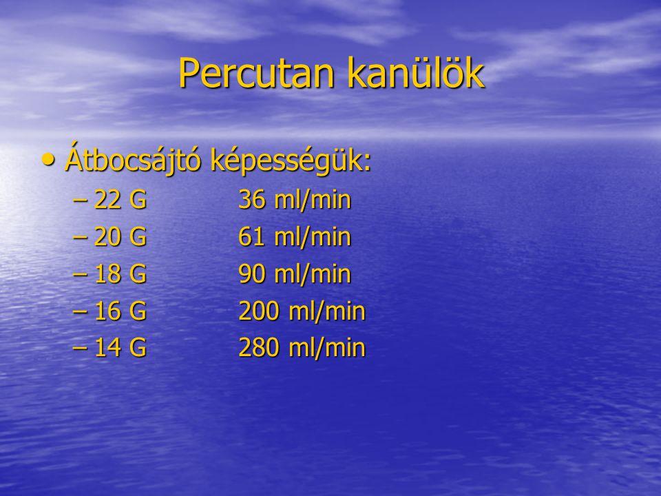 Percutan kanülök Átbocsájtó képességük: 22 G 36 ml/min 20 G 61 ml/min