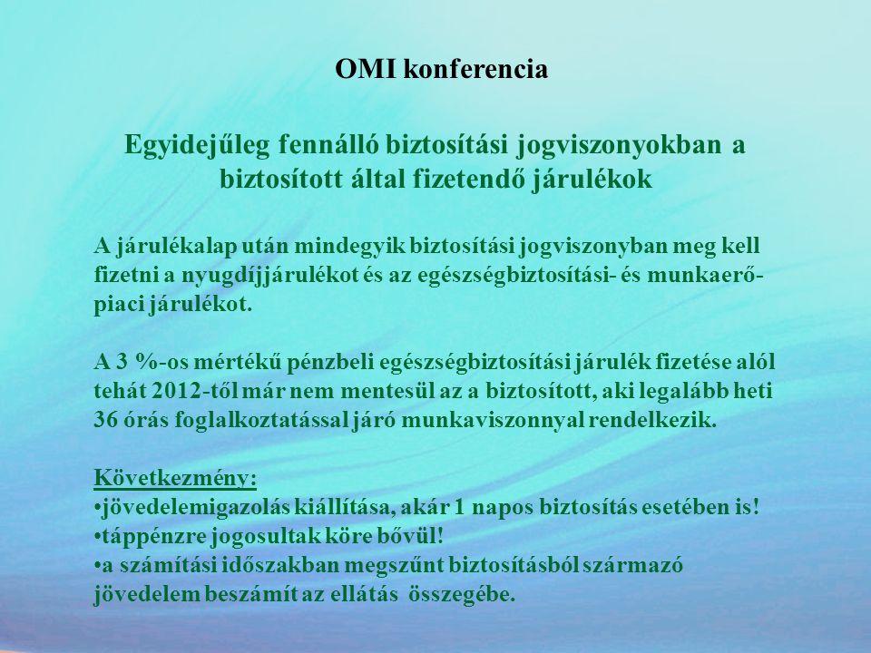 OMI konferencia Egyidejűleg fennálló biztosítási jogviszonyokban a biztosított által fizetendő járulékok.