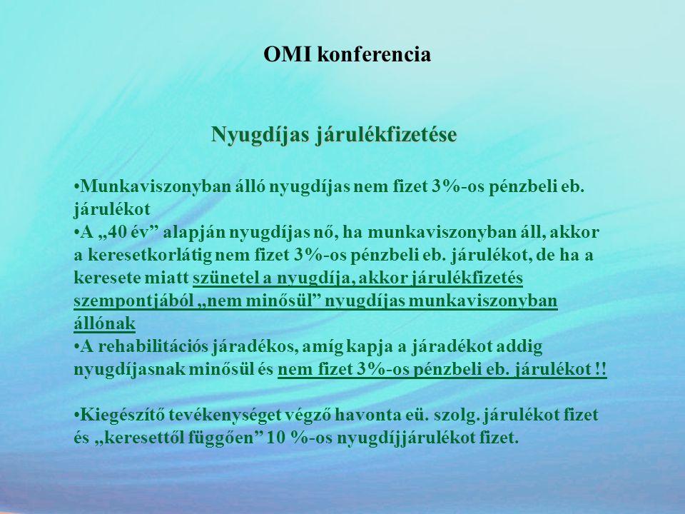 OMI konferencia Nyugdíjas járulékfizetése. Munkaviszonyban álló nyugdíjas nem fizet 3%-os pénzbeli eb. járulékot.