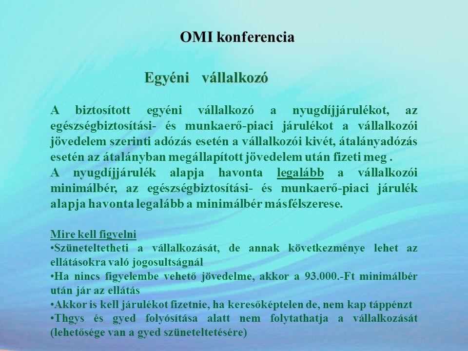 OMI konferencia Egyéni vállalkozó.