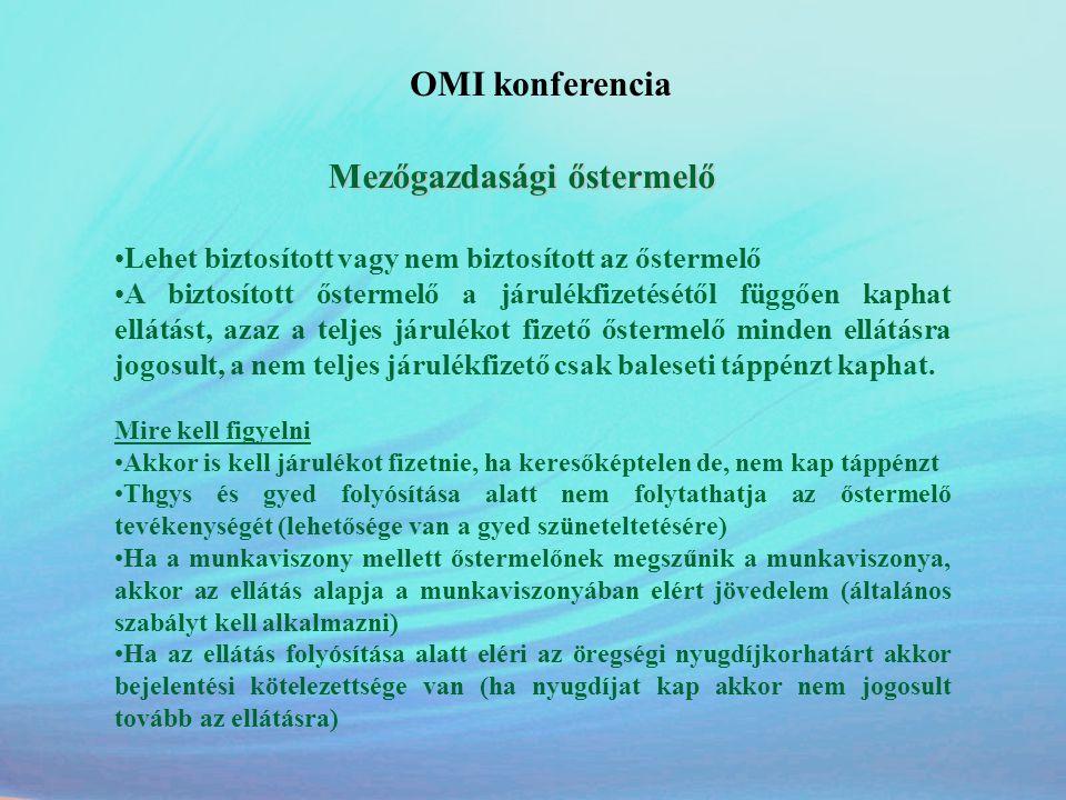 OMI konferencia Lehet biztosított vagy nem biztosított az őstermelő
