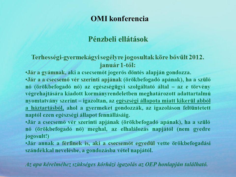 OMI konferencia Pénzbeli ellátások
