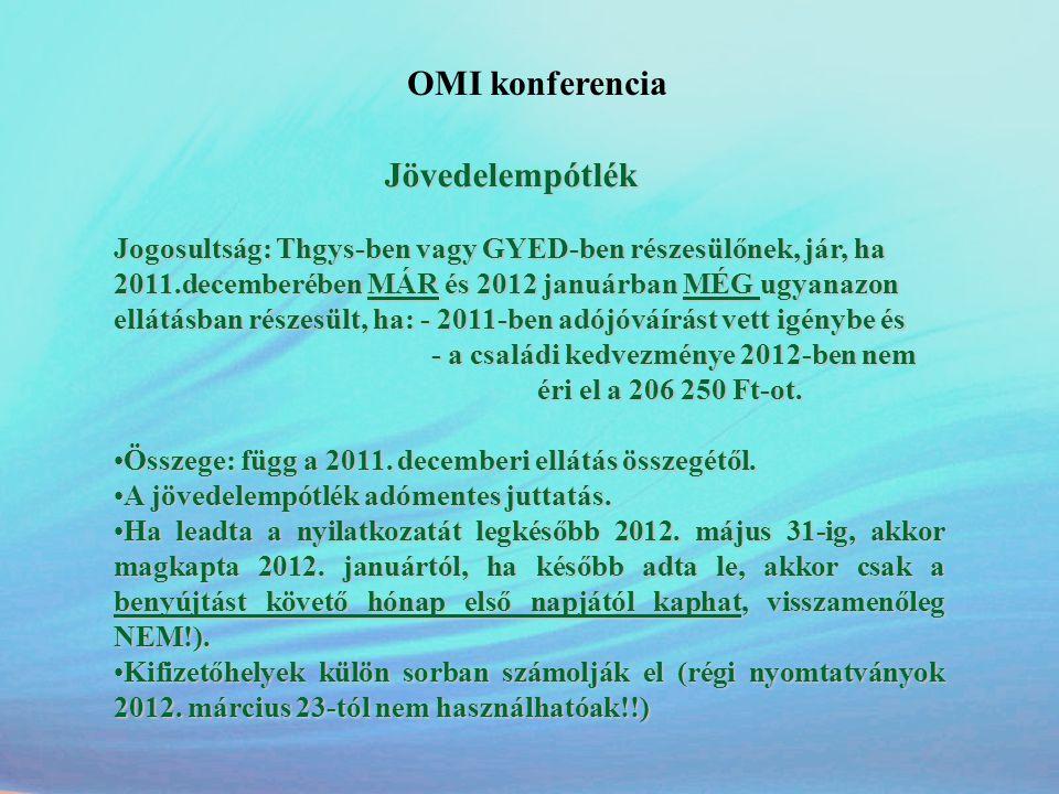 OMI konferencia Jövedelempótlék