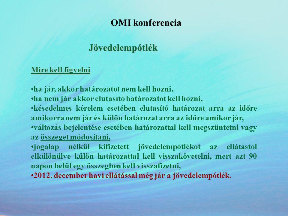 OMI konferencia Jövedelempótlék Mire kell figyelni