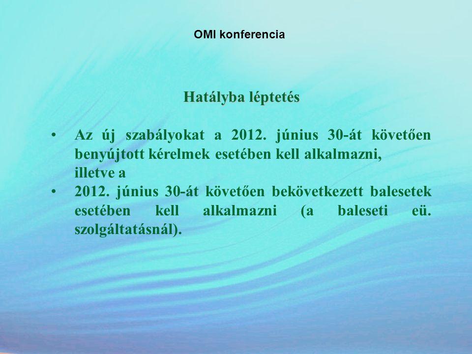 OMI konferencia Hatályba léptetés. Az új szabályokat a 2012. június 30-át követően benyújtott kérelmek esetében kell alkalmazni,
