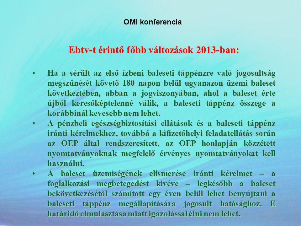 Ebtv-t érintő főbb változások 2013-ban: