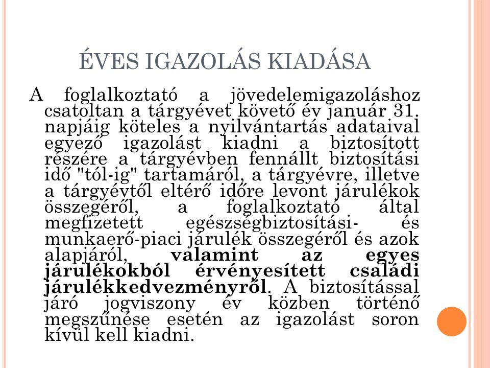 ÉVES IGAZOLÁS KIADÁSA