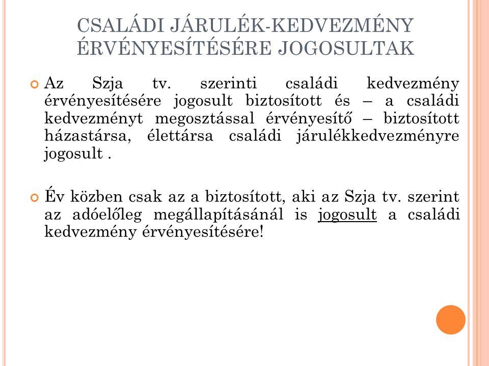 CSALÁDI JÁRULÉK-KEDVEZMÉNY ÉRVÉNYESÍTÉSÉRE JOGOSULTAK