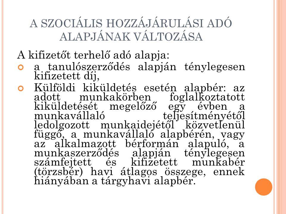 A SZOCIÁLIS HOZZÁJÁRULÁSI ADÓ ALAPJÁNAK VÁLTOZÁSA