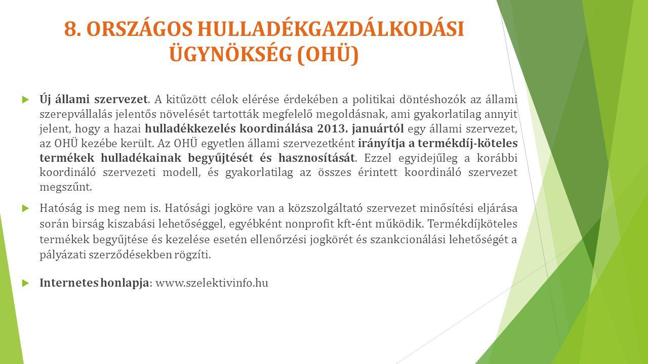 8. ORSZÁGOS HULLADÉKGAZDÁLKODÁSI ÜGYNÖKSÉG (OHÜ)