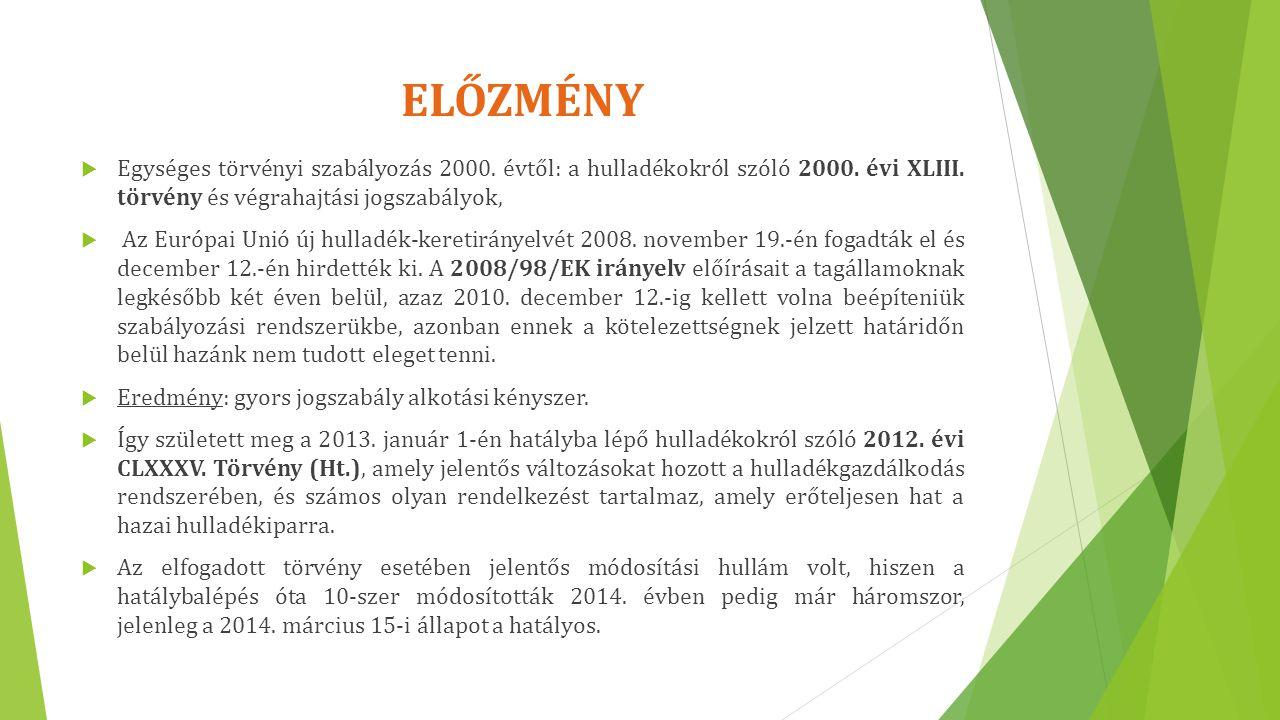 ELŐZMÉNY Egységes törvényi szabályozás 2000. évtől: a hulladékokról szóló 2000. évi XLIII. törvény és végrahajtási jogszabályok,