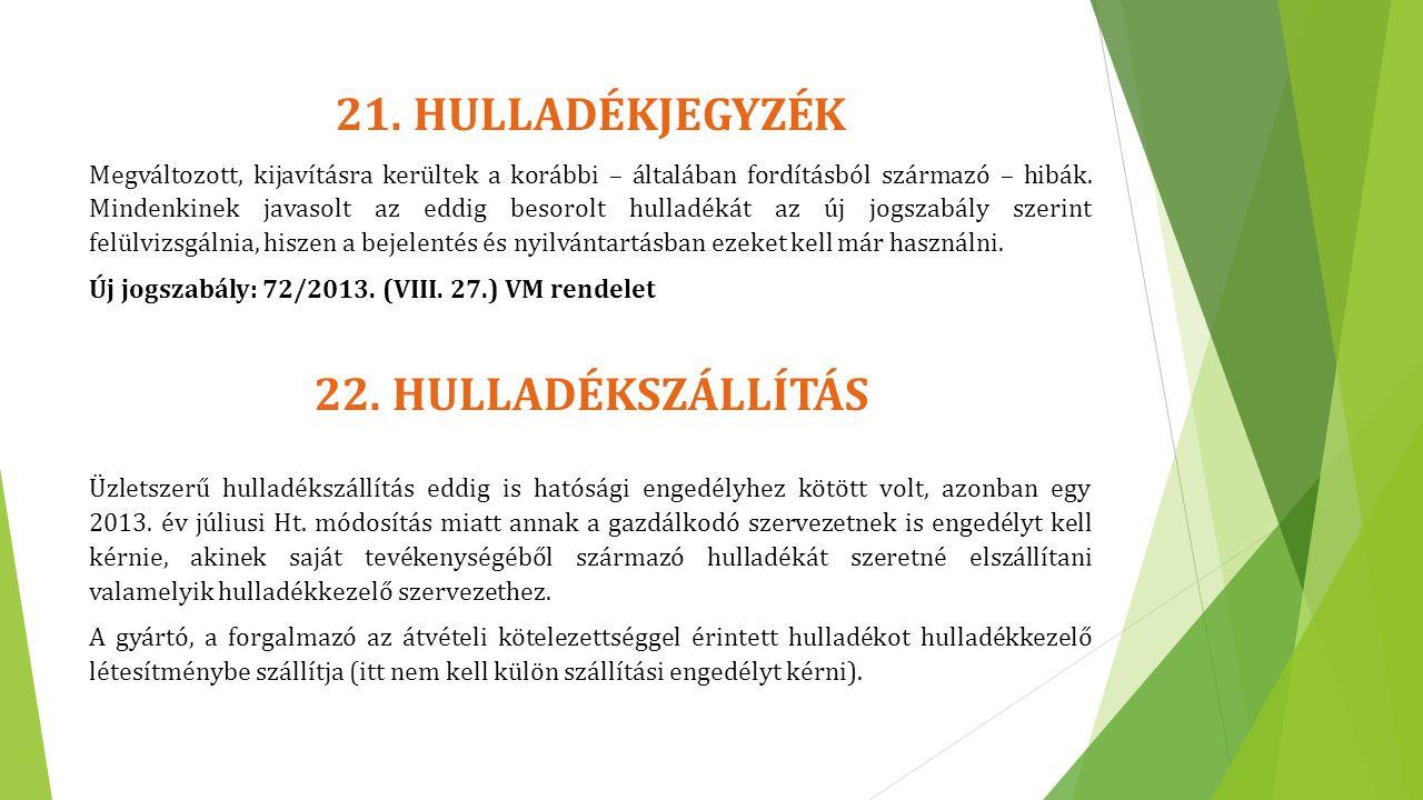 21. HULLADÉKJEGYZÉK 22. HULLADÉKSZÁLLÍTÁS