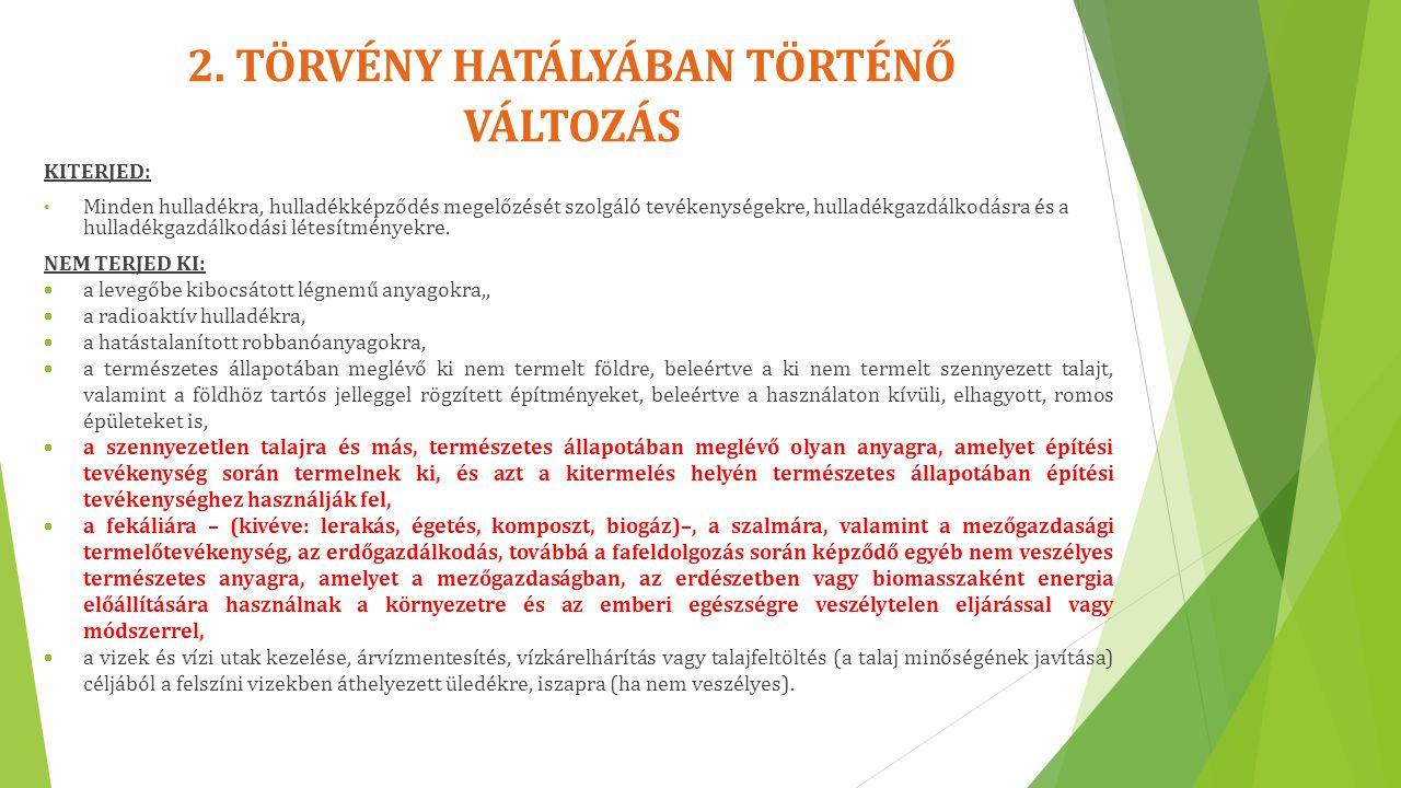 2. TÖRVÉNY HATÁLYÁBAN TÖRTÉNŐ VÁLTOZÁS