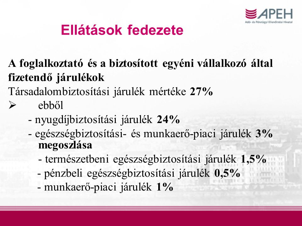 Ellátások fedezete A foglalkoztató és a biztosított egyéni vállalkozó által. fizetendő járulékok. Társadalombiztosítási járulék mértéke 27%
