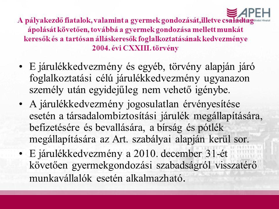 A pályakezdő fiatalok, valamint a gyermek gondozását,illetve családtag ápolását követően, továbbá a gyermek gondozása mellett munkát keresők és a tartósan álláskeresők foglalkoztatásának kedvezménye 2004. évi CXXIII. törvény