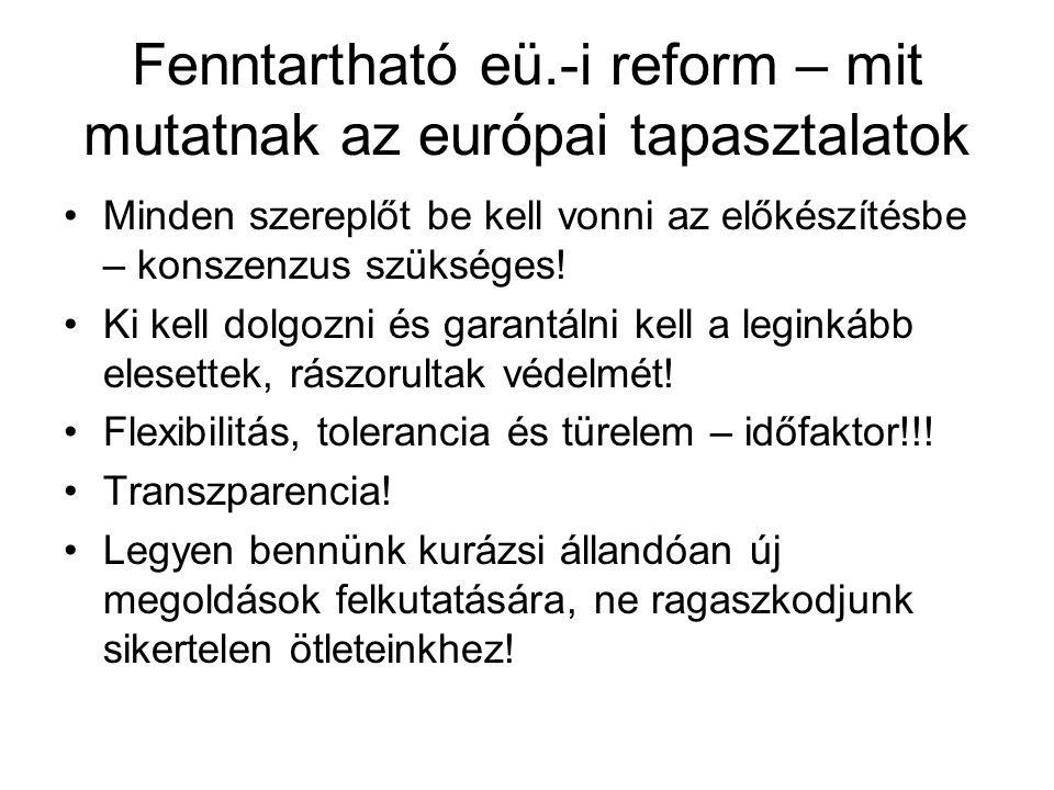 Fenntartható eü.-i reform – mit mutatnak az európai tapasztalatok