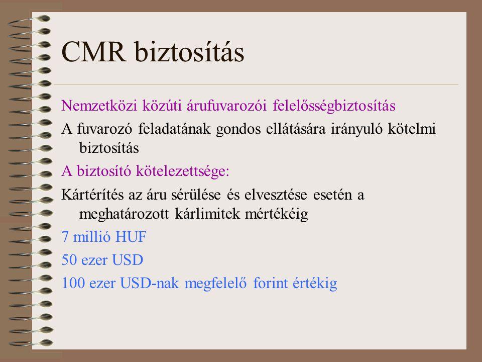 CMR biztosítás Nemzetközi közúti árufuvarozói felelősségbiztosítás