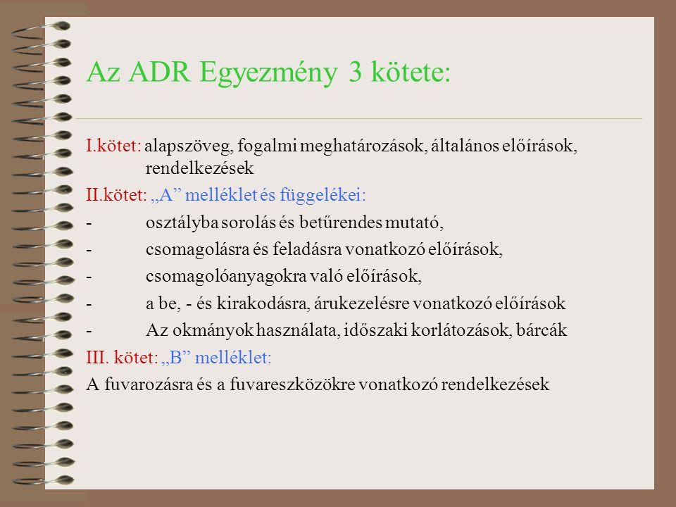 Az ADR Egyezmény 3 kötete:
