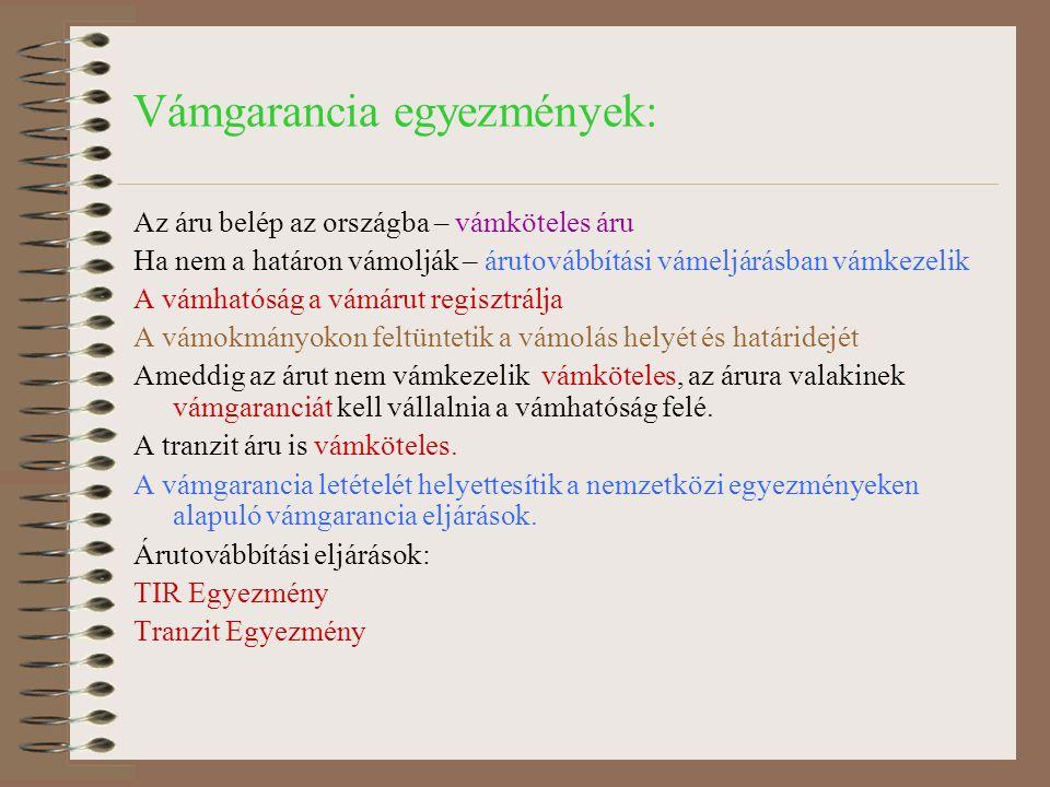 Vámgarancia egyezmények:
