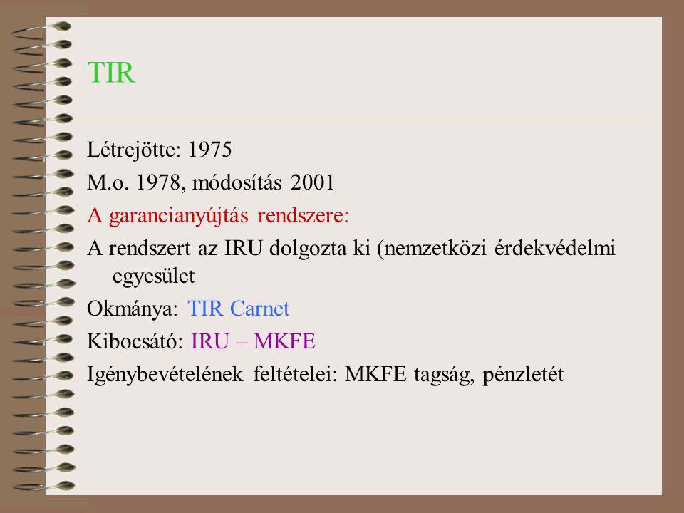 TIR Létrejötte: 1975 M.o. 1978, módosítás 2001