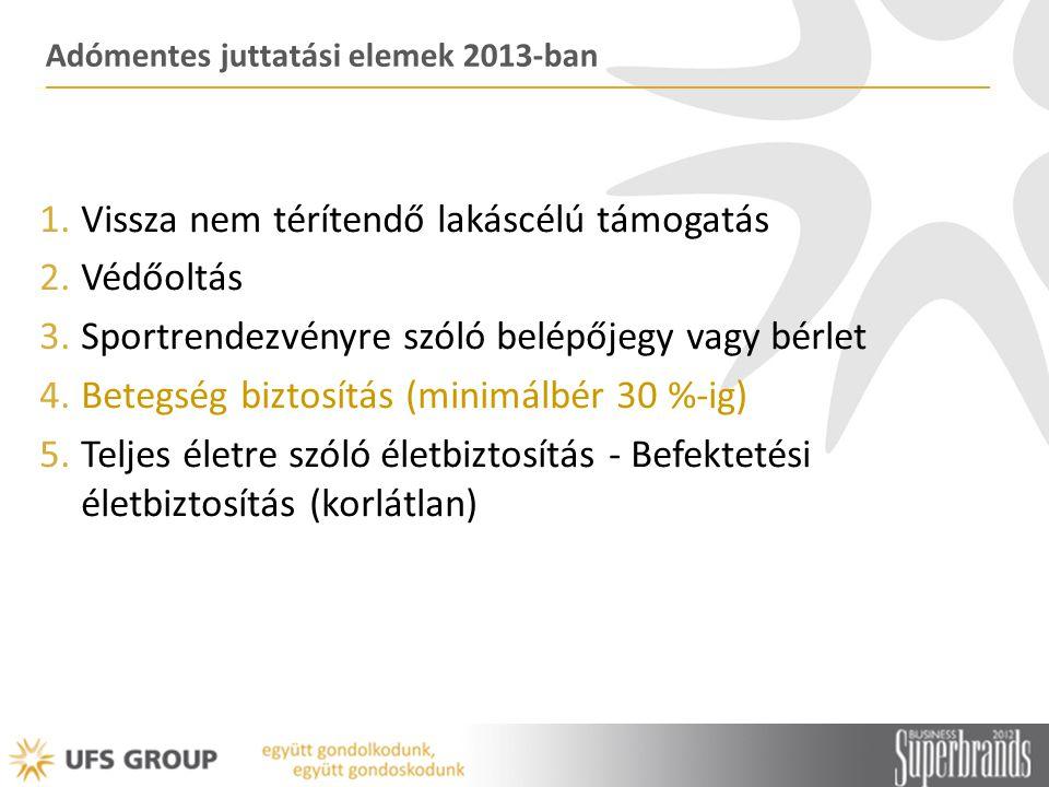 Adómentes juttatási elemek 2013-ban