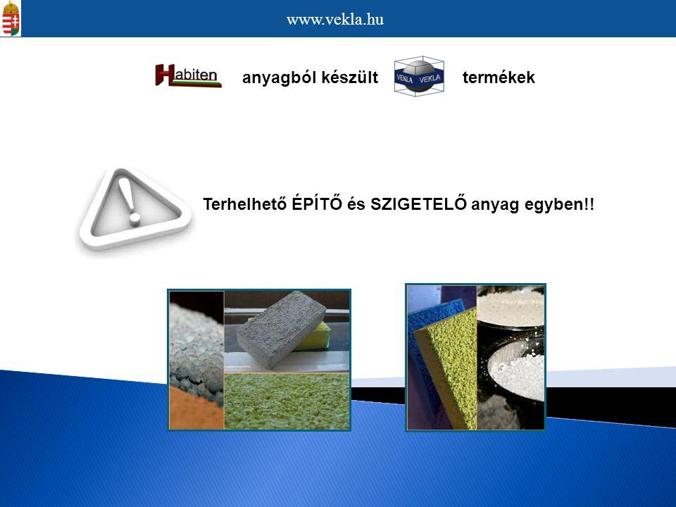 www.vekla.hu anyagból készült termékek. Terhelhető ÉPÍTŐ és SZIGETELŐ anyag egyben!!