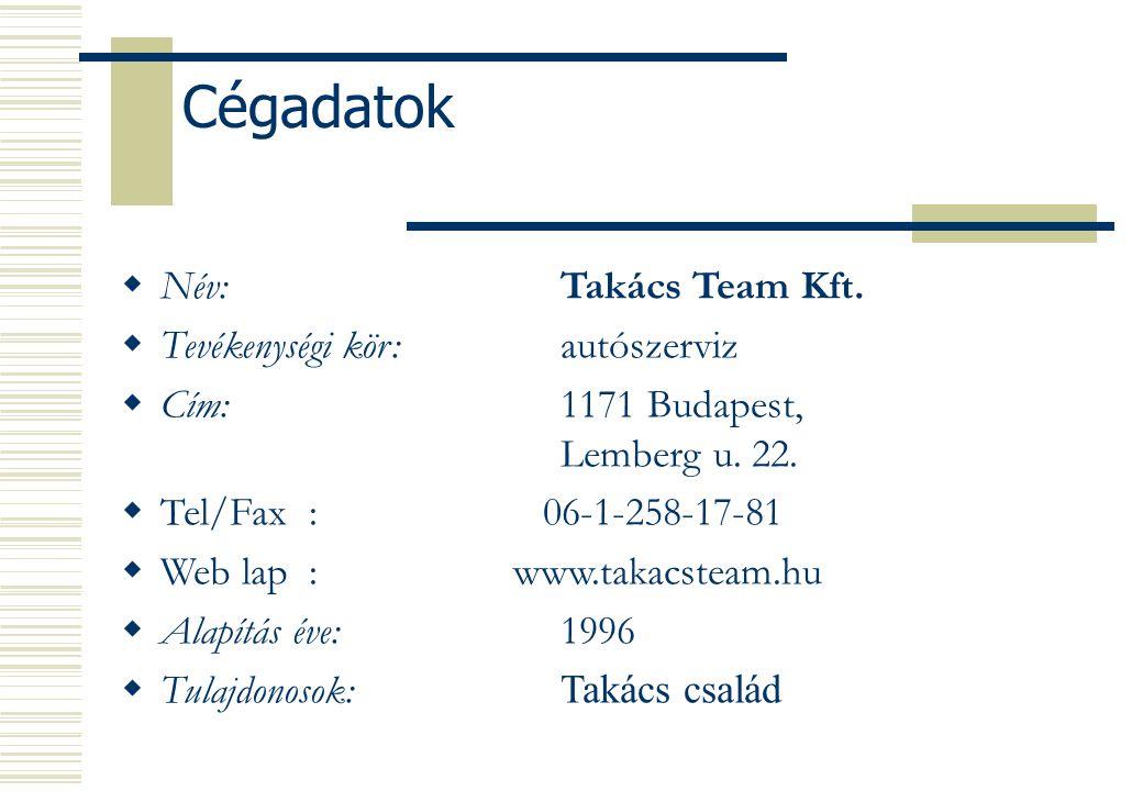 Cégadatok Név: Takács Team Kft. Tevékenységi kör: autószerviz