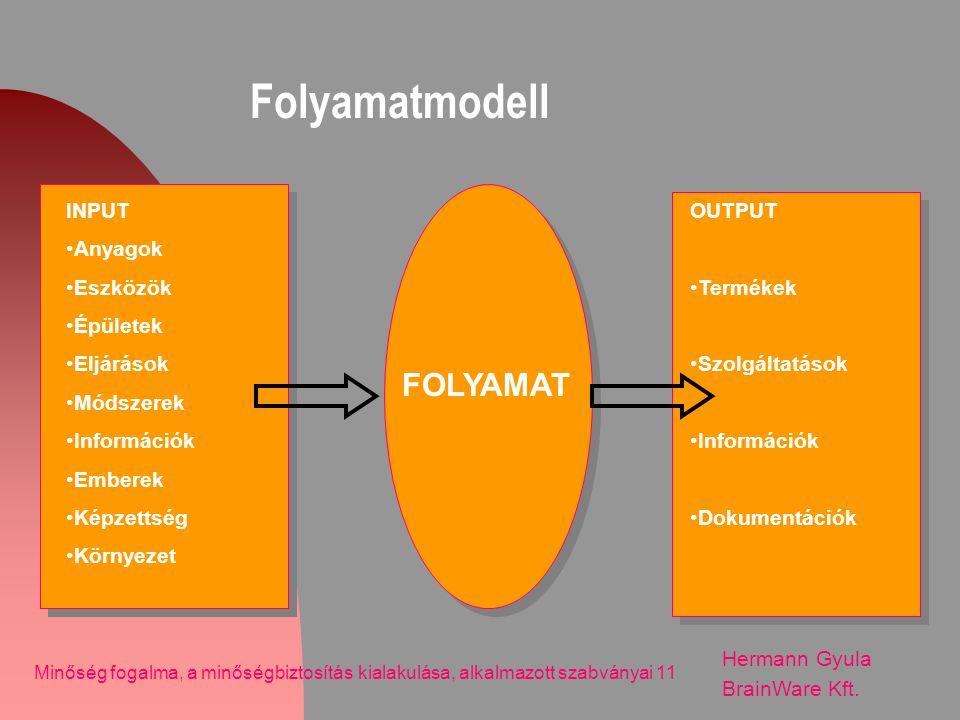 Folyamatmodell FOLYAMAT INPUT Anyagok Eszközök Épületek Eljárások