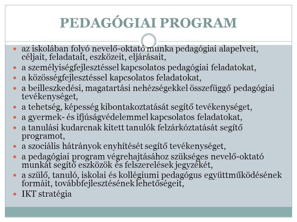 PEDAGÓGIAI PROGRAM az iskolában folyó nevelő-oktató munka pedagógiai alapelveit, céljait, feladatait, eszközeit, eljárásait,
