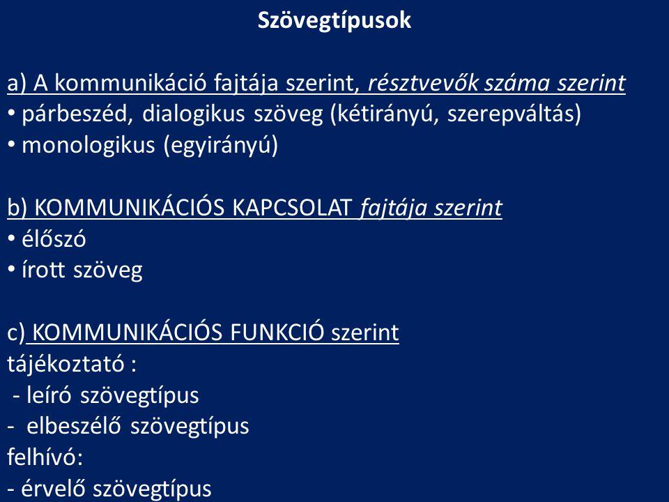 Szövegtípusok a) A kommunikáció fajtája szerint, résztvevők száma szerint. párbeszéd, dialogikus szöveg (kétirányú, szerepváltás)