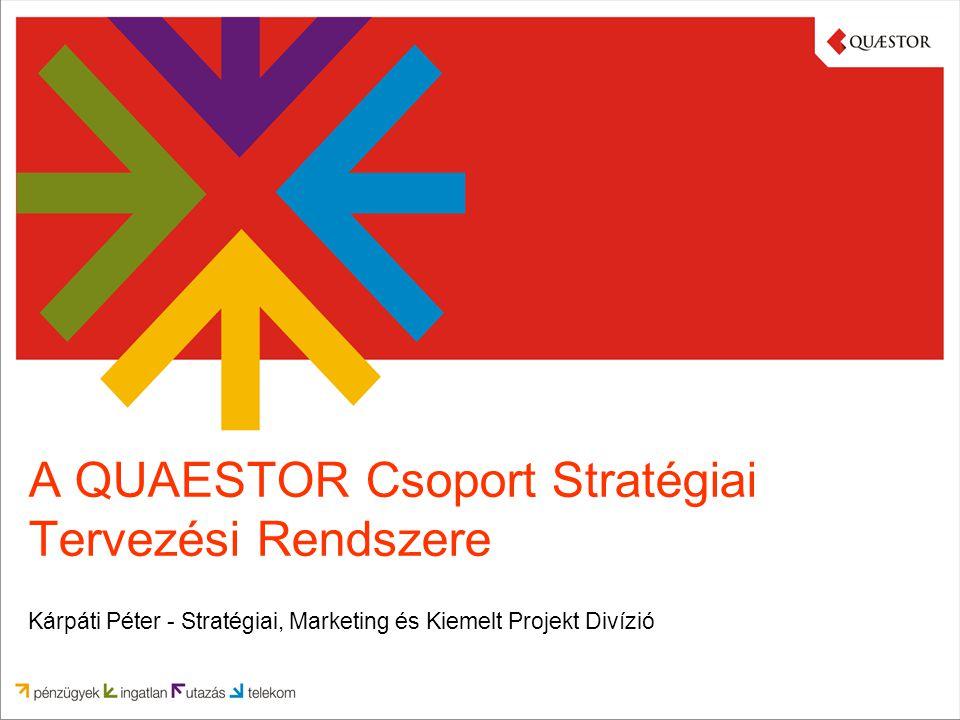 A QUAESTOR Csoport Stratégiai Tervezési Rendszere Kárpáti Péter - Stratégiai, Marketing és Kiemelt Projekt Divízió