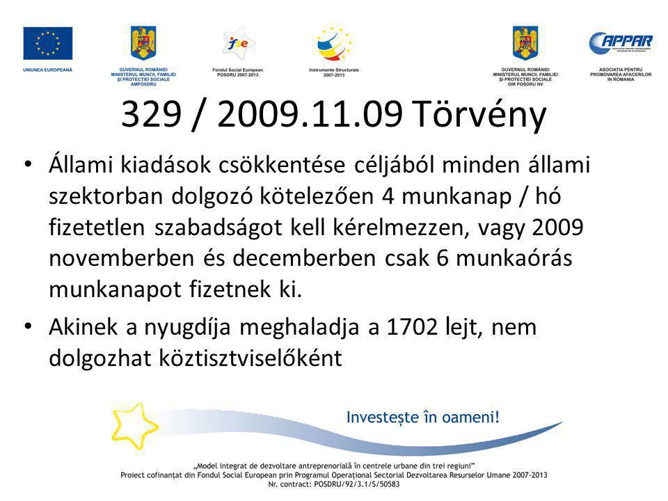 329 / 2009.11.09 Törvény