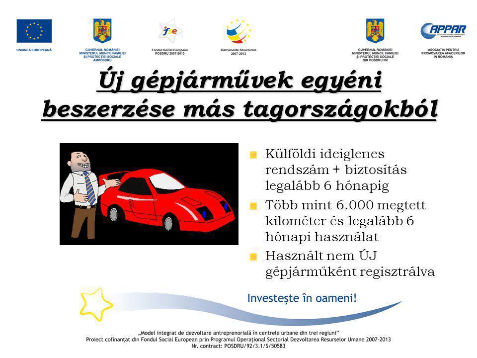 Új gépjárművek egyéni beszerzése más tagországokból