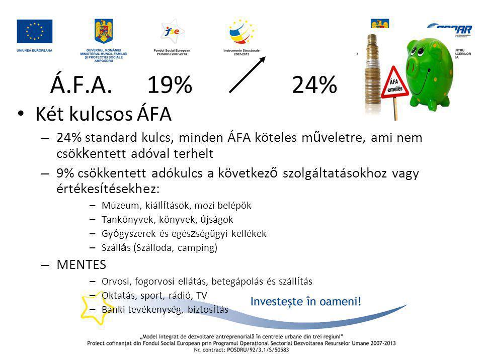 Á.F.A. 19% 24% Két kulcsos ÁFA. 24% standard kulcs, minden ÁFA köteles műveletre, ami nem csökkentett adóval terhelt.