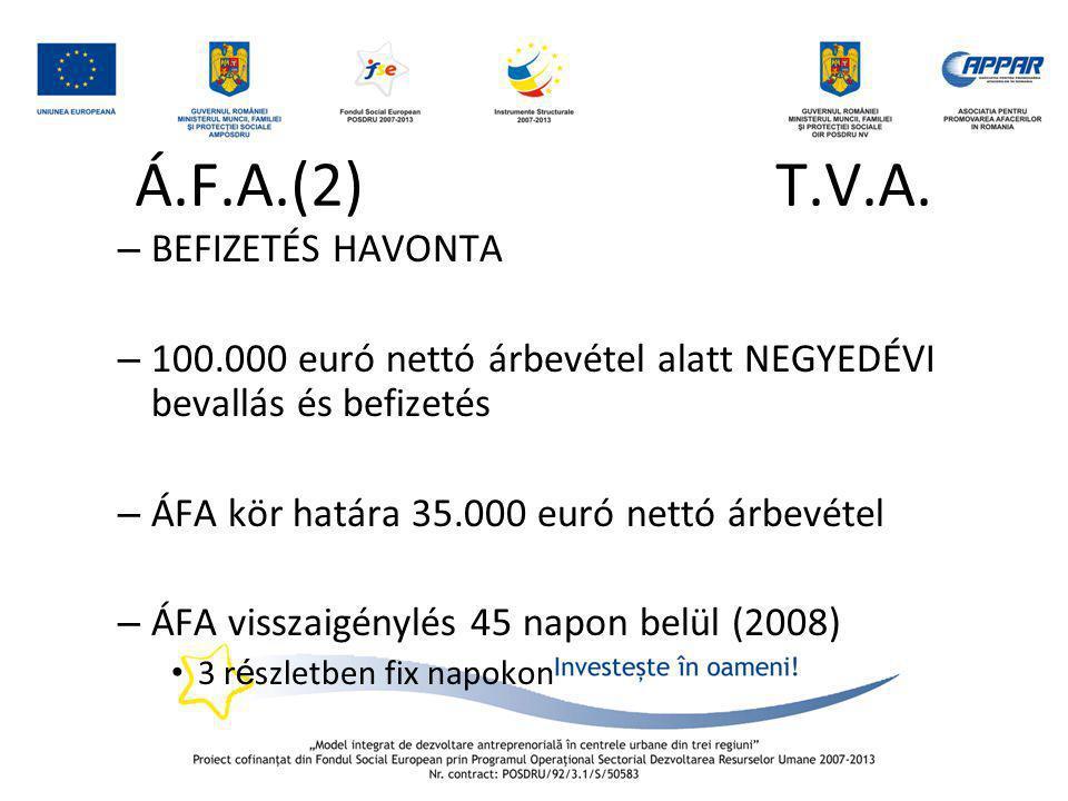 Á.F.A.(2) T.V.A. BEFIZETÉS HAVONTA