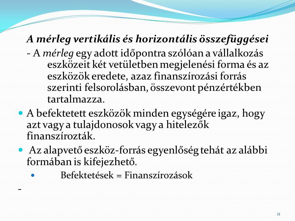 A mérleg vertikális és horizontális összefüggései