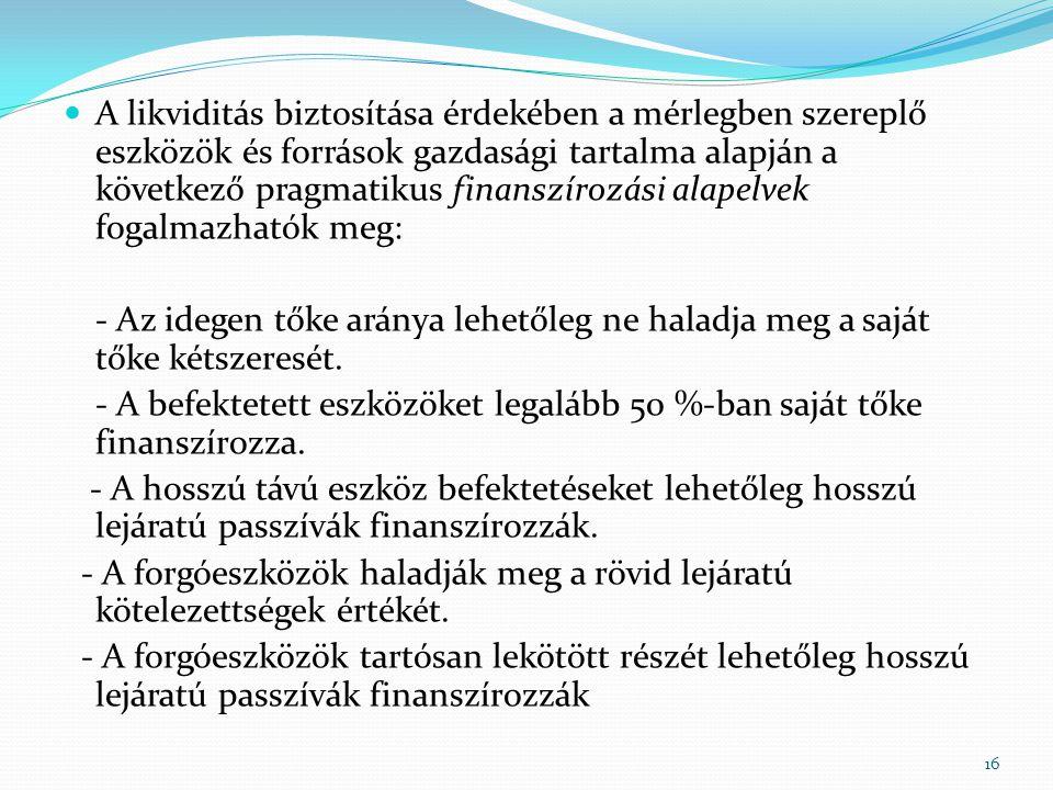 A likviditás biztosítása érdekében a mérlegben szereplő eszközök és források gazdasági tartalma alapján a következő pragmatikus finanszírozási alapelvek fogalmazhatók meg: